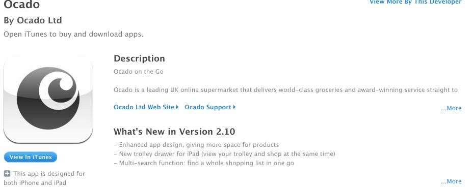 Ocado for iPhone description